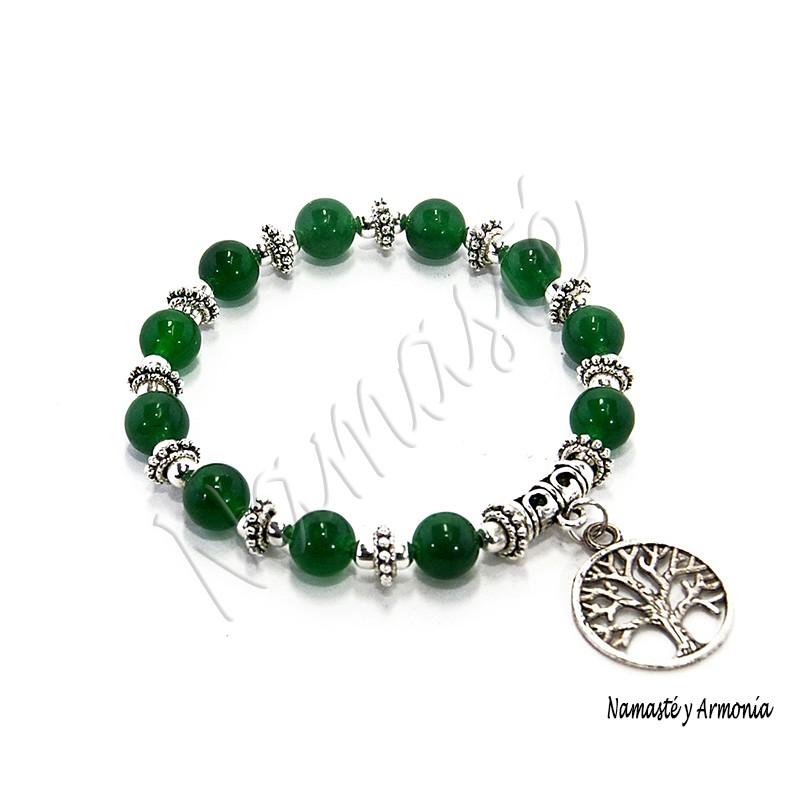 Pulsera Árbol de la Vida , 11 Piedras Jade Verde. Loading zoom