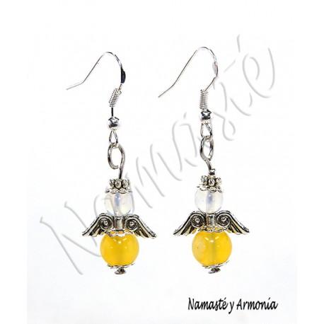 Pendiente Ángel de la Guarda - 2 Piedras Jade Amarillo