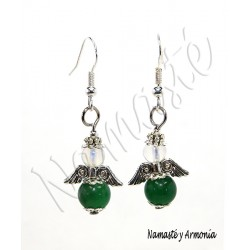 Pendiente Ángel de la Guarda - 2 Piedras Jade Verde
