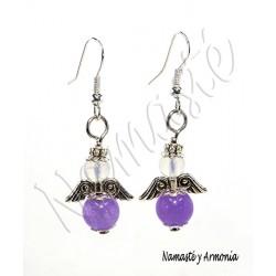 Pendiente Ángel de la Guarda - 2 Piedras Jade Violeta