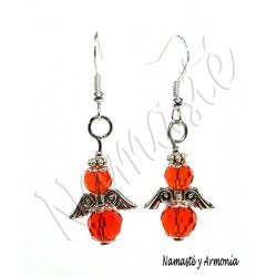 Pendiente Ángel de la Guarda - 2 Cristales Naranja