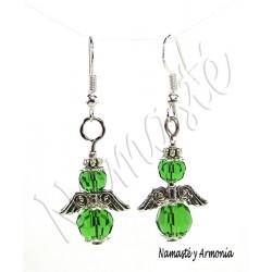 Pendiente Ángel de la Guarda - 2 Cristales Verdes