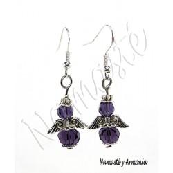 Pendiente Ángel de la Guarda - 2 Cristales Violeta