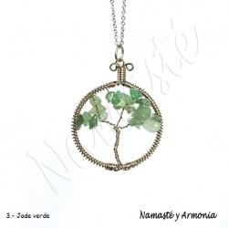 Dije Árbol de la vida - Piedra JADE VERDE