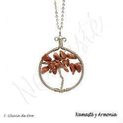 Dije Árbol de la vida - Piedra LLUVIA DE ORO