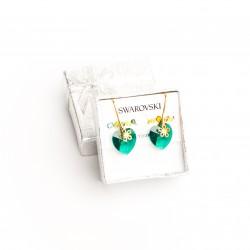 Aretes cristal Swarovski® corazón 14m. Color emerald. Herraje en oro Golfi.
