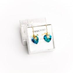 Aretes cristal Swarovski® corazón 14m. Color Crystal bermuda (Azul) Herraje en oro Golfi.