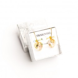 Aretes cristal Swarovski® corazón 14m. Color Luminous (blanco). Herraje en oro Golfi.