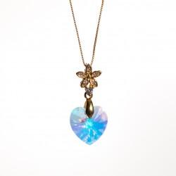 Collar corazón cristal Swarovski® 14mm. Color Crystal AB . Pasacadena y portadije en Dorado. Cadena 40 cm en Oro Golfi.