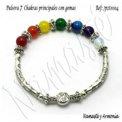 Pulsera 7 chakras con 7 Piedras. Elástica 7P2TE004