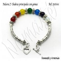 Pulsera 7 chakras con 7 Piedras y broche 7P2T001