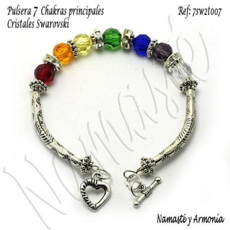 Pulsera 7 chakras con 7 Cristales Swarovski y broche 7SW2T007