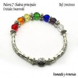 Pulsera 7 chakras con 7 Cristales Redondos. Elástica 7SW2TE010
