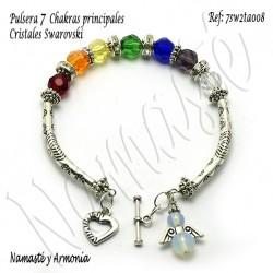 Pulsera 7 chakras con 7 Cristales Redondos y broche ángel 7SW2TA008