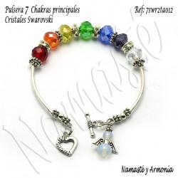 Pulsera 7 chakras con 7 Cristales Rondelle y broche Ángel 7SWR2TA012