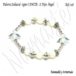 Pulsera Zodiacal Signo CANCER. Elástica 2 Dijes Ángel. Z018CANCER