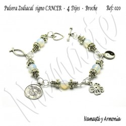 Pulsera Zodiacal Signo CANCER. 4 Dijes - Broche. Z020CANCER