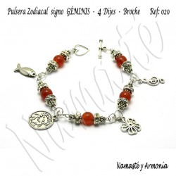 Pulsera Zodiacal Signo GÉMINIS. 4 Dijes - Broche. Z020GÉMINIS