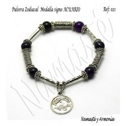 Pulsera Zodiacal Signo ACUARIO. Medalla Zodiacal. Z021ACUARIO