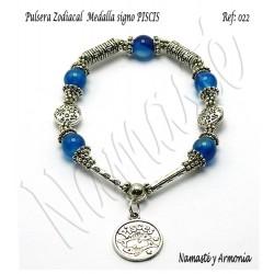 Pulsera Zodiacal Signo PISCIS. Medalla Zodiacal. Z022PISCIS