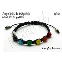 Pulseras Unisex estilo Shamballa con gemas o piedras de 8mm. Cordón nudo corredizo
