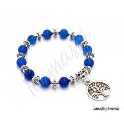 Pulsera Árbol de la Vida - 11 Piedras Ágata Azul