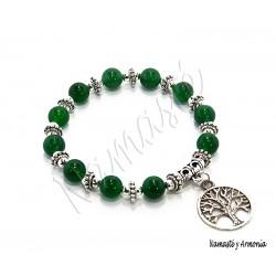 Pulsera Árbol de la Vida - 11 Piedras Jade Verde